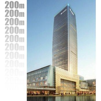 广州白云绿地中心共囊括了200米的超高层塔楼