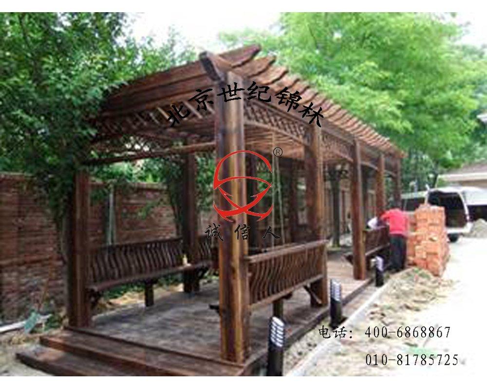 碳化浮雕木廊架,木制葡萄架
