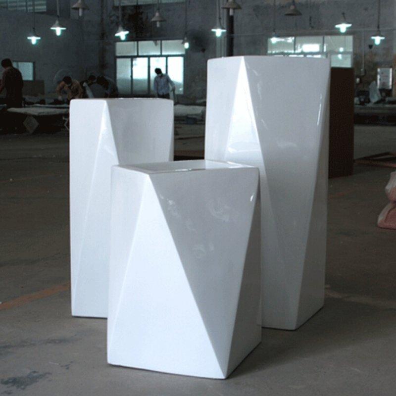 新品创意菱形花钵多边形花器商场艺术花坛 玻璃钢户外